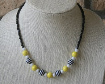Black, White, and Yellow Necklace | Stripes | Statement Necklace | Everyday jewelry | Black and White | Beaded necklace | Handmade Jewelry