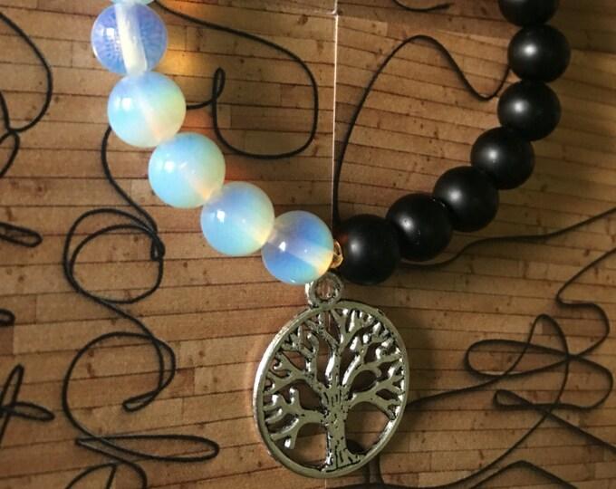 YinYang bracelet, black and white bracelet, black onyx & Opalite ,