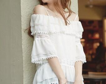 YOCO Womens Open Shoulder Peplum Layered Chiffon Top Japanese/Korean Fashion