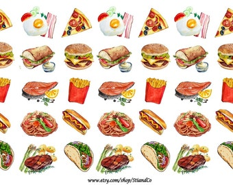 Breakfast, Lunch, Dinner Meal Planner Sticker; Pizza, Egg & Bacon, Sandwich, Hamburger, Hot dog, Taco, Steak, Salmon; ECLP, Happy Planner