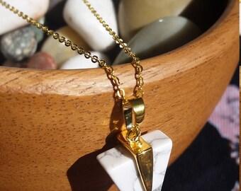White howlite turquoise triangle gemstone pendant, gold chain
