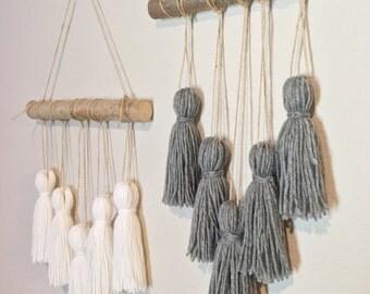 Tassel mobile. New colors!Yarn wall hanging. Woven wall hanging. Yarn tassels. Nursery decor. Modern boho home decor.