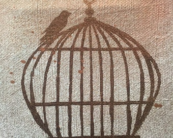 Bird and Cage Painting // one of a kind // handpainted // copper