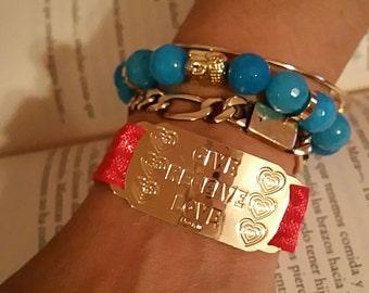 Natural Stone faceted beads yoga bracelet Budah 18k gold plated