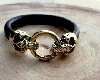 Men's bracelet , Skull Head leather bracelet , Gold skull bracelet , Leather wristband