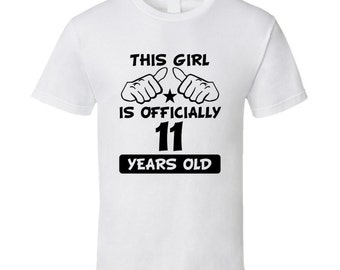 This Girl Is Officially 11 Years Old Fun 11th Birthday Shirt