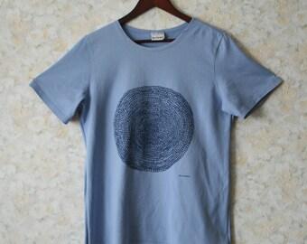 MARIMEKKO womens top Marimekko shirt Marimekko Tshirt Blue tshirt Mandala Pure cotton womens top Short sleeves Summer Marimekko clothes