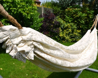 Luxury Upcycled Ivory White Hammock for your Garden, Veranda or Indoor...  Boho - Chic made out of Quality re-purposed curtains
