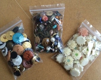 Mixed Lot - Beads, Buttons and Flower Cabochons