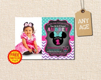 MINNIE MOUSE INVITATION, 1st Birthday Invitation, Minnie Mouse Birthday Invitation, Minnie Mouse Birthday, Minnie Mouse, With Photo