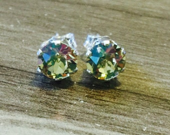 Luminous Green Swarovski Crystal Sterling Silver Earrings