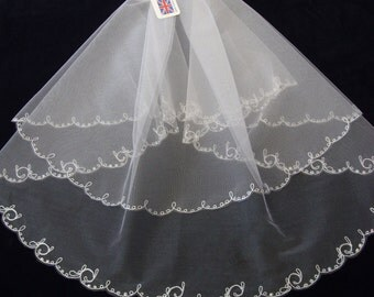 Wedding veil  -  Victorian Pattern  -  Cornely Freehand Embroidered