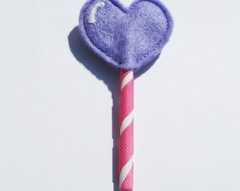 LOLLIPOP HEART Brooch - Felt, badge, pin, candy, kawaii, fairy kei, sweet lolita, grape, harajuku, pink, stripe, cute, ribbon