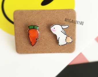 Kawaii Bunny Rabbit Handmade Stud Earrings, Cute Animal Studs, Carrot Earrings, Mismatched Earrings, Gift for Her,Easter