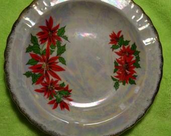 Vintage Christmas Poinsettia ashtray