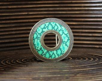 Belt Buckle – Pattern print belt buckle - Interchangeable Belt Buckle – Animal belt buckle – Donut shape belt buckle - DNT-LNE-001