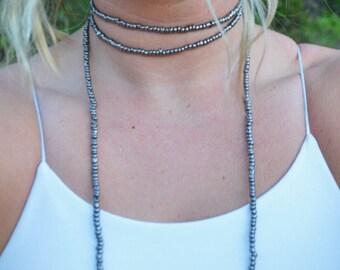 Long Double Wrap Necklace in Gunmetal