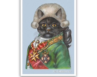 Black Cat the Minister - Cat Art Print - Cute Paintings with Cats - Cat Wig - Funny Pet Portraits by Maria Pishvanova