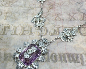 Superb Antique Victorian Sterling Silver Necklace with Amethyst