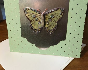 Handmade greeting card.  Well wishing. Foil / Butterfly