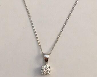 0.15 Carat Diamond Necklace White Gold