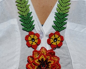 Beaded Flower Necklace - Red (Colombia)
