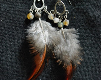 Handmade, Up-cycled, Natural Feather Earrings