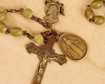 Olive Green Fine Italian Rosary (R018)