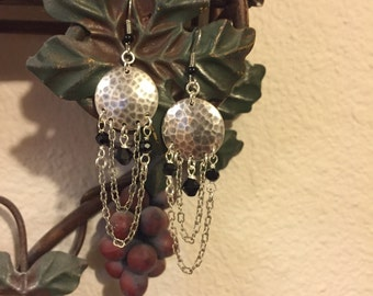 Hammered Disc Chandelier Earrings