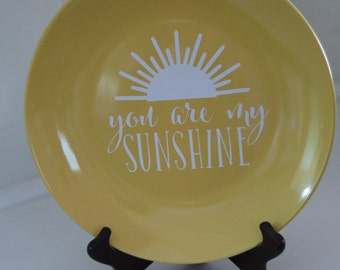 Decorative Plate - You Are My Sunshine Yellow Stoneware