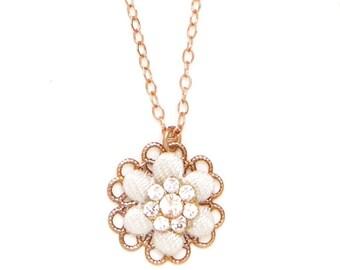 Bridal Rose Gold Flower Necklace, Bridesmaid Flower Necklace, Bridesmaid Rose Gold Necklace, Delicate Necklace, Bridal Gift, Bridesmaid Gift