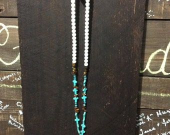 Cross and Beaded Turquoise Necklace