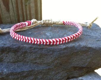 Classic Red and White Baseball Stitch Macrame Hemp Friendship Bracelet