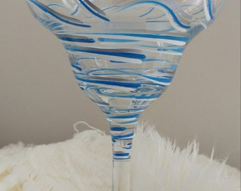 """Beautiful Hand Painted, Blue, White and Silver Swirled """"Food Network""""  Margarita Glasses!"""