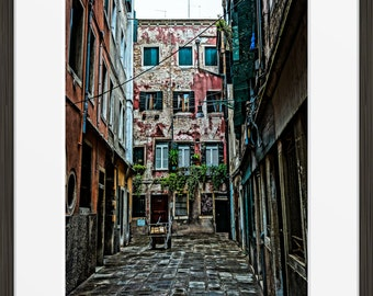 Venice alley print photo, Venice photography, Italy alleyway, Europe, fine art, wall art, home decor.
