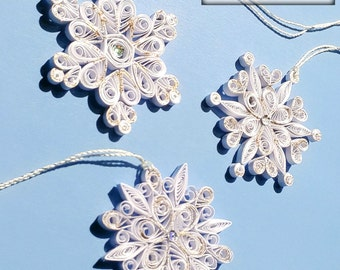 Snowflakes, Christmas Snowflake Ornament, Set of 3 Handmade Quilled Snowflakes.