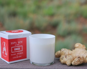 Ginger scented 9 oz soy candle with golden flakes