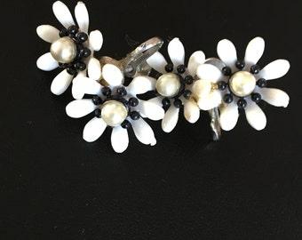 Vintage Double Flower Clip on Earrings