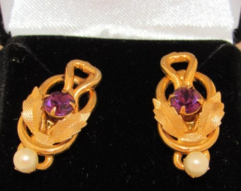 Vintage Goldtone, Pearl and Amethyst Earrings - 1940/50 clip-on converted to Pierced