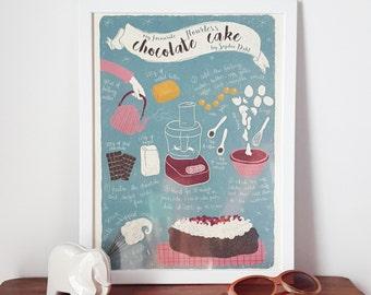 Illustrated recipe art print | Flourless chocolate cake | Illustrated food | Kitchen art