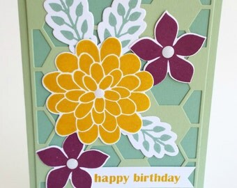 Handmade bold flower, hexagon honeycomb Happy Birthday card, thank you, thinking of you, hello card, blank card, yellow green and purple