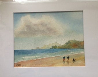 Beach Stroll Original Watercolor Painting, beach, sea, landscape, walk, people, dog