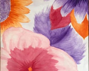 Floral Watercolor Painting with Tertiary Color Scheme on 22x15 watercolor parchment