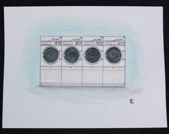 Laundromat watercolor