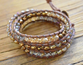 Triple Leather Wrap Bracelet with Czech Faceted Rondelle Glass Beads