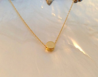 Gold Dot Necklace, 14K Gold Fill Chain, Tiny Gold Dot, Floating Gold Dot, Gold Disc, Circle, Minimal, Dainty, Delicate, Everyday, Layering,