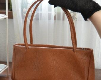Vintage handbag leather 60s 70s