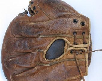 Vintage GOLDSMITH Left-Handed Leather Baseball Catcher's Mitt