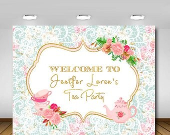 Tea Party Baby Shower Backdrop, Gender Neutral, High Tea, Bridal Shower, Baby Shower, 1st Birthday, Birthday Party, Poster, Sign, Backdrop