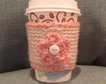 Crochet Pink/Tan Flower Coffee Cozy | Cup Cozy | Koozy